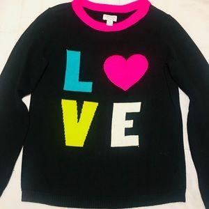 💛Children's Place Black Love Sweater Size 10/12💛